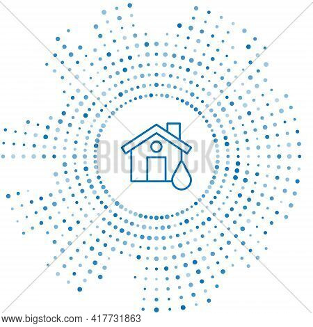 Blue Line House Flood Icon Isolated On White Background. Home Flooding Under Water. Insurance Concep