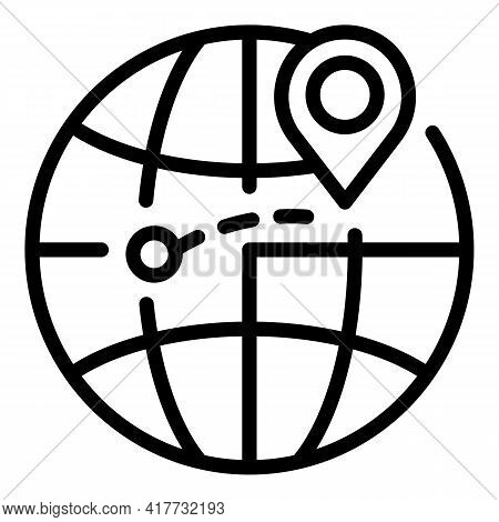 Global Delivery Goods Icon. Outline Global Delivery Goods Vector Icon For Web Design Isolated On Whi