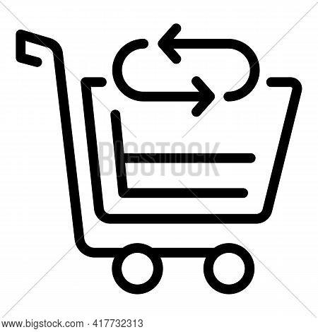 Cart Return Shopping Icon. Outline Cart Return Shopping Vector Icon For Web Design Isolated On White