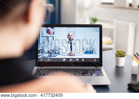 Student Patient Consulting Therapist Doctor Having Online Videocall Consultation
