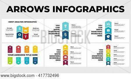Arrows Vector Infographic. Presentation Slide Template. Chart Diagram. Swot Analysis. Vertical Steps