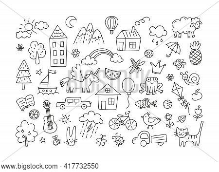A Set Of Children Drawings. Kid Doodle. Sun In The Clouds, Summer Flowers And Trees, Painted Houses,