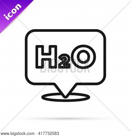 Black Line Chemical Formula For Water Drops H2o Shaped Icon Isolated On White Background. Vector