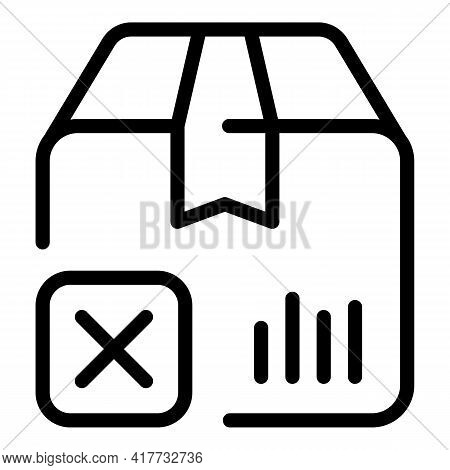 Declined Parcel Icon. Outline Declined Parcel Vector Icon For Web Design Isolated On White Backgroun