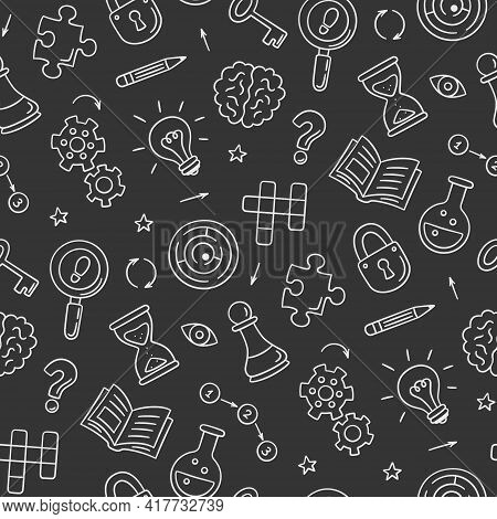 Puzzle And Riddles. Hand Drawn Seamless Pattern With Crossword Puzzle, Maze, Brain, Chess Piece, Lig