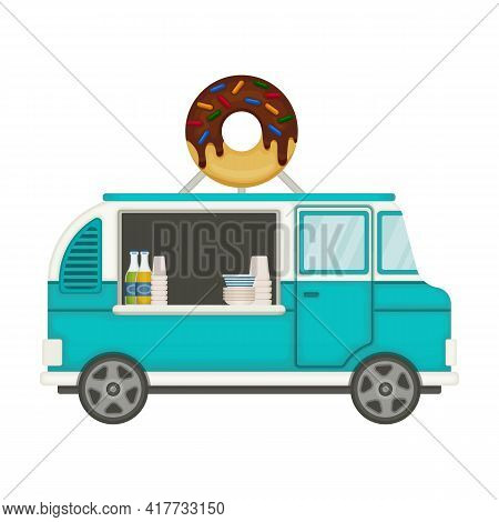 Food Truck Vector Icon.cartoon Vector Icon Isolated On White Background Food Truck.