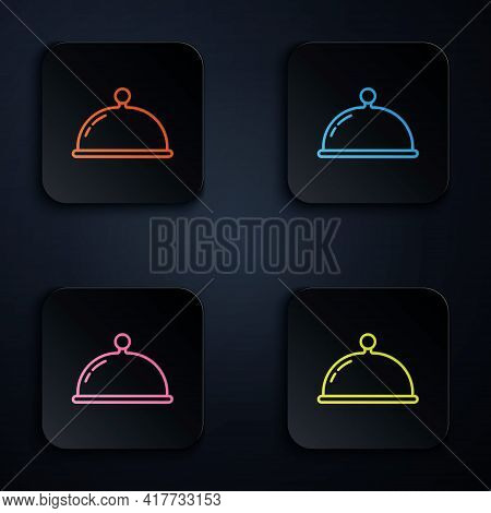 Color Neon Line Covered With A Tray Of Food Icon Isolated On Black Background. Tray And Lid Sign. Re