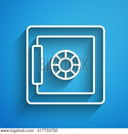 White Line Safe Icon Isolated On Blue Background. The Door Safe A Bank Vault With A Combination Lock