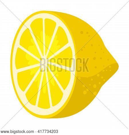 Slice Of Lemon Vector Icon.cartoon Vector Icon Isolated On White Background Slice Of Lemon.