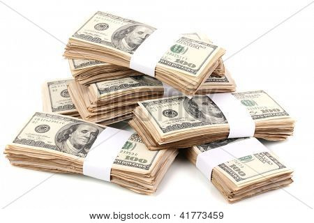 Stacks of one hundred dollars banknotes close-up isolated on white poster