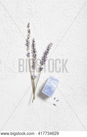 Lavender And Crystal Mineral On White Background. Magic Rock For Crystal Ritual, Witchcraft, Spiritu