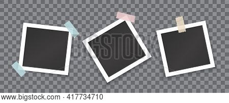 Collage Of Blank Photographs With Stickers Isolated On Transparent Background. Vector Mockup Of Whit