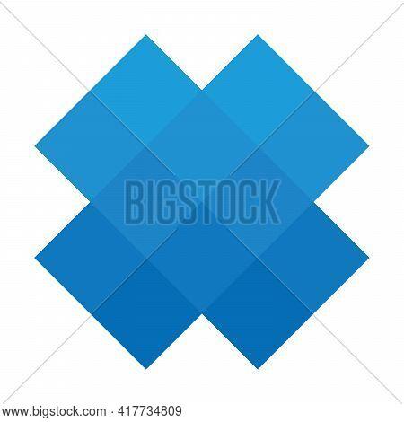 Blue Pixelized Mosaic Logo Design Element. Abstract Shape Of Multiple Squares. Simple Flat Vector Gr