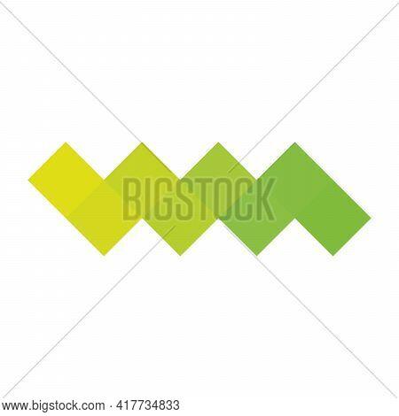 Green Pixelized Mosaic Logo Design Element. Abstract Zigzag Chevron Shape Of Multiple Squares. Simpl
