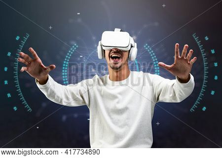Man experiencing VR simulation entertainment technology