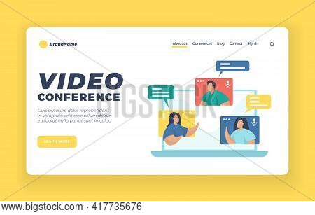 Video Conferencing Landing Page Website Banner Template. Flat Vector Illustration. Team Working By G