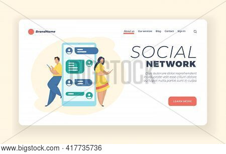 Social Network Messaging Service Landing Page Website Banner Template. Male And Female Cartoon Chara