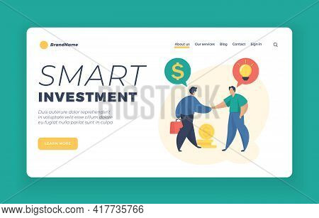 Smart Investment Landing Page Website Banner Template. Investing Money In Startup. Male Cartoon Char