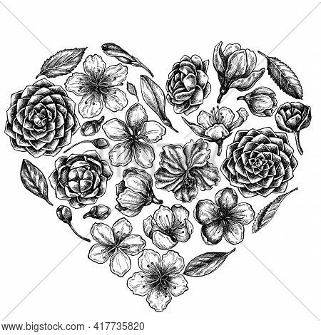 Heart Floral Design With Black And White Hibiscus, Plum Flowers, Peach Flowers, Sakura Flowers, Magn