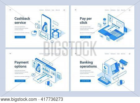 Set Of Blue And White Vector Illustrations Of Web Banners Representing Various Convenient Online Ope