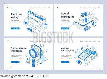 Set Of Blue And White Vector Illustrations Of Banners Advertising Various Online Electronic Services