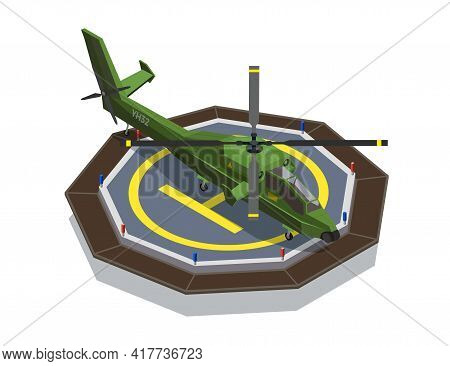 Airplanes Helicopters Isometric Composition With Images Of Military Helicopter Set On Helipad Touchd