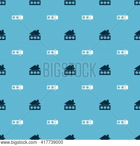 Set House With Password And Password Protection On Seamless Pattern. Vector