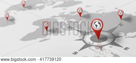 Gps Navigation World Map With Red Pin Icon. Map And Pin Marker Location. Logistic, Geography, Transp