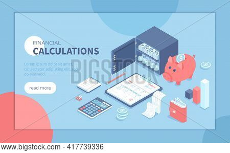 Financial Calculations. Bookkeeping, Audit, Analysis, Reporting, Accounting. Invoice, Piggy Bank, Sa