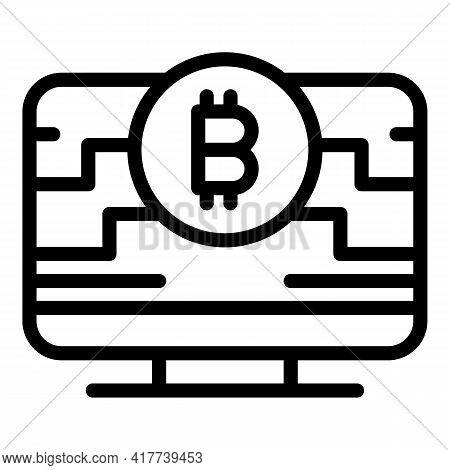 Online Blockchain Icon. Outline Online Blockchain Vector Icon For Web Design Isolated On White Backg