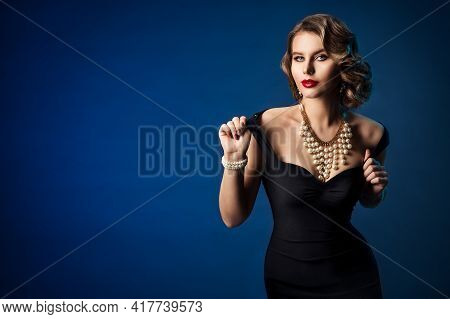 Retro Fashion Model, Old Fashioned Woman Beauty Portrait In Black Dress, Hairstyle Makeup Luxury Jew