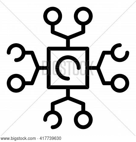 Digital Blockchain Icon. Outline Digital Blockchain Vector Icon For Web Design Isolated On White Bac