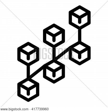 Blocks Chain Network Icon. Outline Blocks Chain Network Vector Icon For Web Design Isolated On White