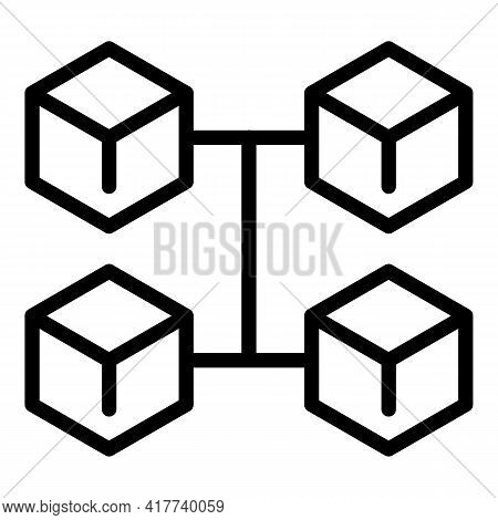 Blockchain Market Icon. Outline Blockchain Market Vector Icon For Web Design Isolated On White Backg