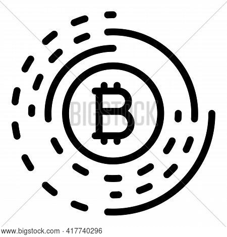 Bitcoin Currency Icon. Outline Bitcoin Currency Vector Icon For Web Design Isolated On White Backgro