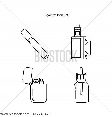 Cigarette Icon Set Isolated On White Background. Cigarette Icon Thin Line Outline Linear Cigarette S