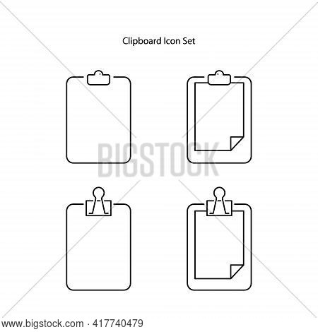 Clipboard Icon Set Isolated On White Background. Clipboard Icon Thin Line Outline Linear Clipboard S