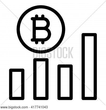 Bitcoin Profit Icon. Outline Bitcoin Profit Vector Icon For Web Design Isolated On White Background