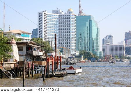 Bangkok, Thailand - February 23, 2019 : Old Port Without People Using Service In Chao Phraya River