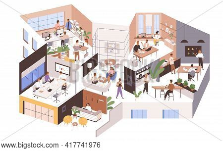 Inside Large Office With Different Rooms, Work Areas And Spaces. Modern Workspace Interior With Peop