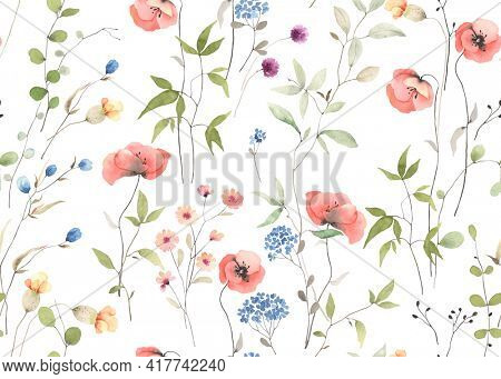 Delicate floral seamless pattern with wildflowers, abstract plants and flowers. Colorful watercolor illustration meadow on white background.