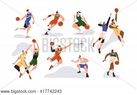Man Players Playing Basketball With Orange Ball, Throwing It To Net Basket, Dribbling, Dunking And J
