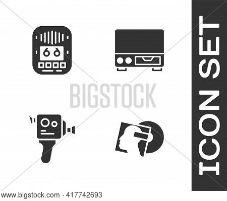 Set Vinyl Disk, Cassette Tape Player, Retro Cinema Camera And Old Video Cassette Icon. Vector