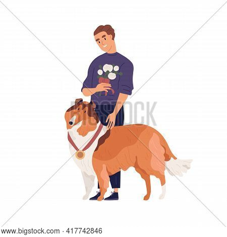 Portrait Of Young Happy Smiling Man And Cute Dog Standing Together With Gold Medal As Winner Of Dogg