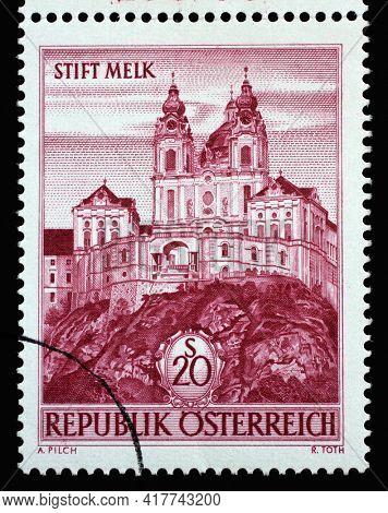 ZAGREB, CROATIA - SEPTEMBER 09, 2014: Stamp printed in the Austria shows Melk Abbey, Austria, circa 1963