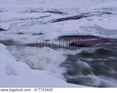 Magic Winter Waterfall Storforsen, North Of Sweden In Winter
