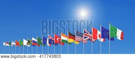Waving Flags Countries Of Members Group Of Twenty. Big G20, In Rome, The Capital City Of Italy, On 3