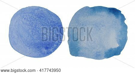Blue, Ultramarine Round Shape Watercolor Stains. Watercolor. Smooth Transition Of Wet Paint. Collect