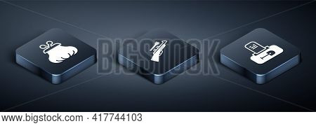 Set Isometric Wallet, Grave With Tombstone And Sniper Rifle Scope Icon. Vector