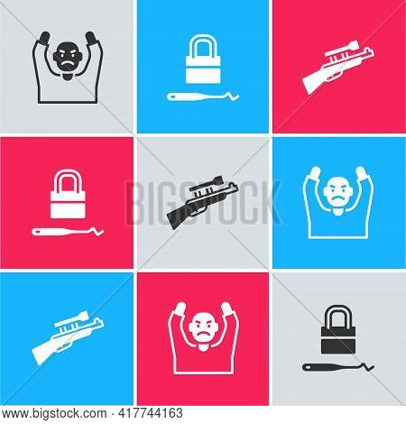 Set Thief Surrendering Hands Up, Lock Picks For Lock Picking And Sniper Rifle With Scope Icon. Vecto